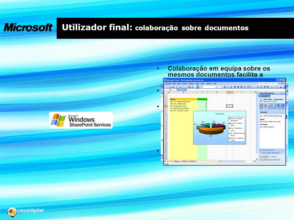 Utilizador final: colaboração sobre documentos