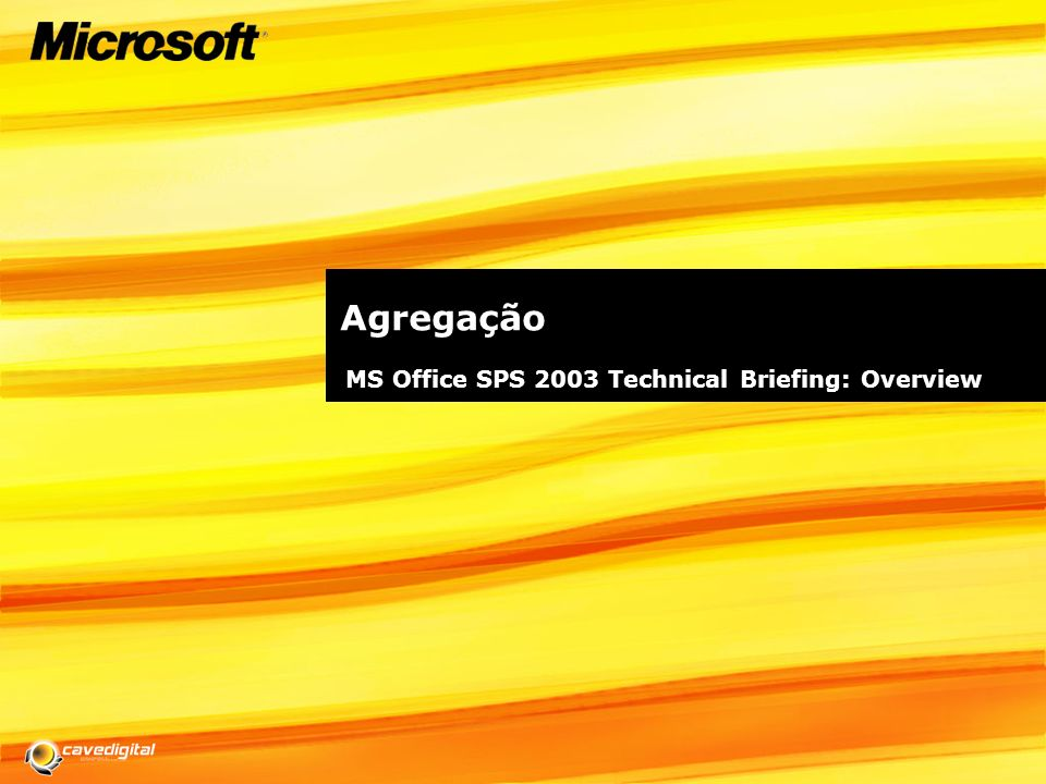 Agregação MS Office SPS 2003 Technical Briefing: Overview