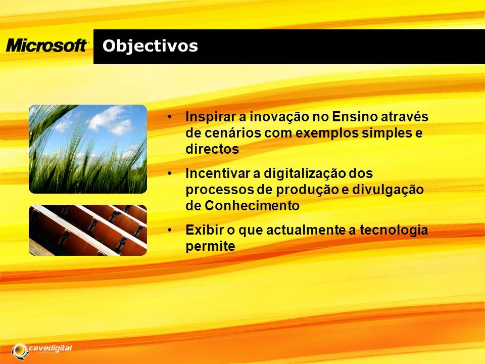 Objectivos Inspirar a inovação no Ensino através de cenários com exemplos simples e directos.