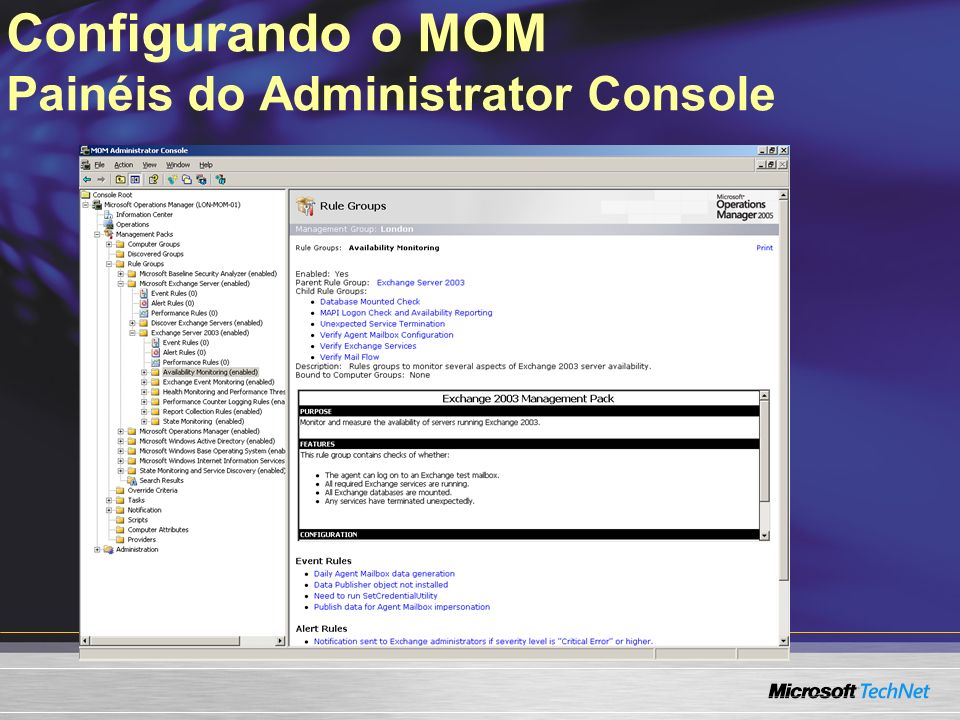 Configurando o MOM Painéis do Administrator Console