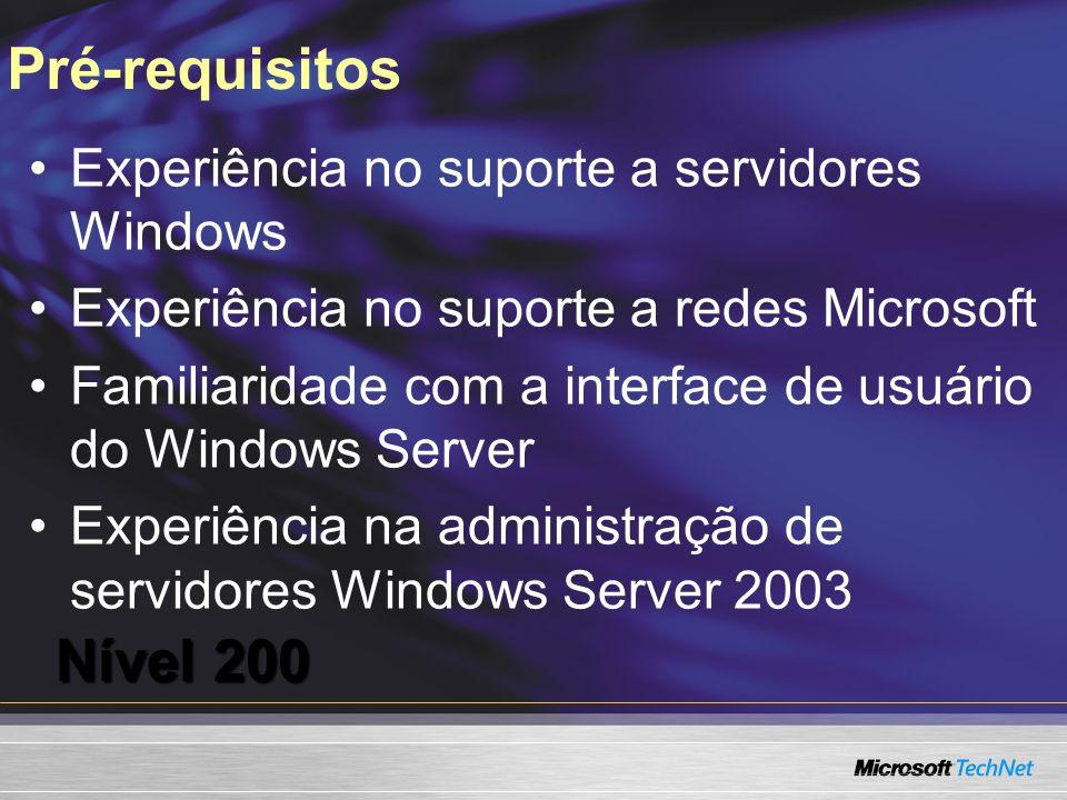 Pré-requisitos Nível 200 Experiência no suporte a servidores Windows