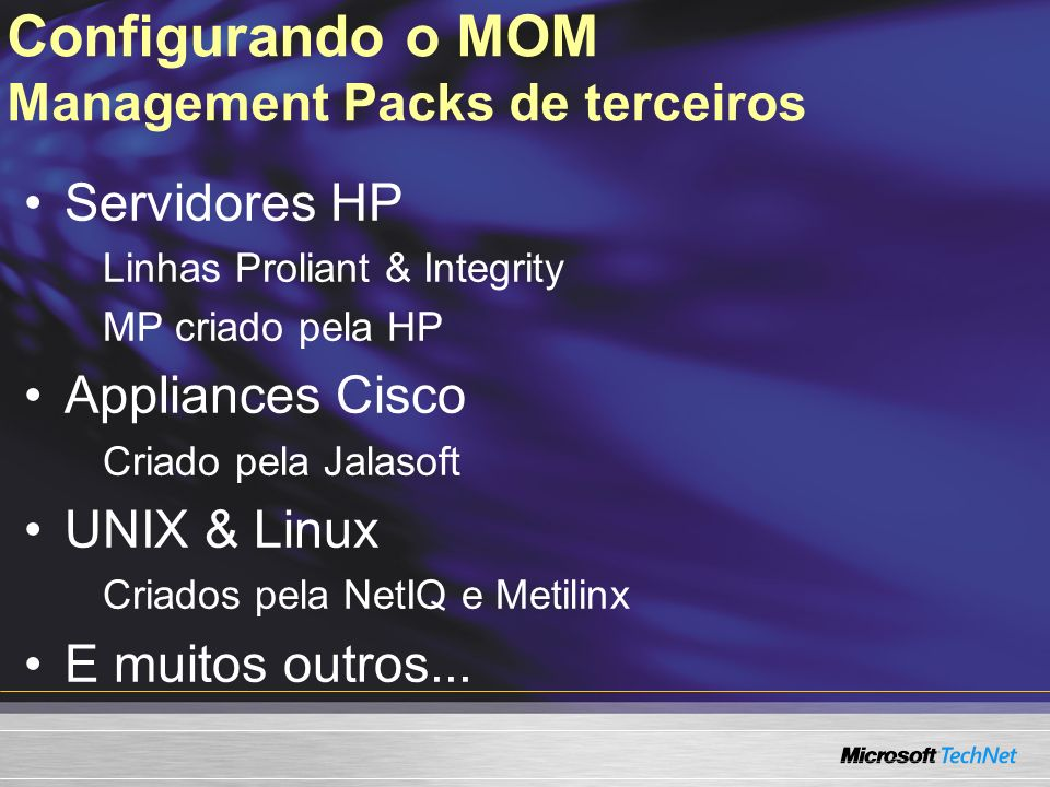 Configurando o MOM Management Packs de terceiros