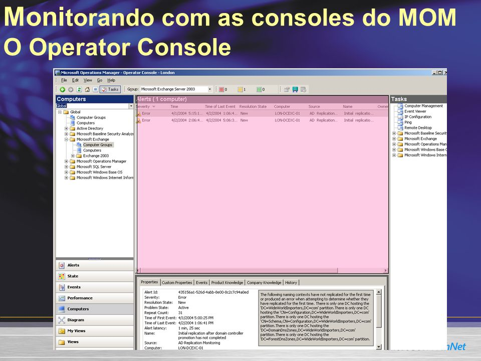 Monitorando com as consoles do MOM O Operator Console