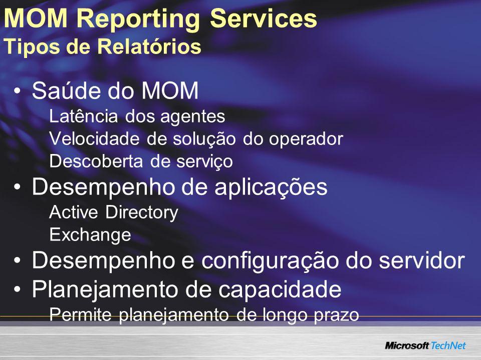 MOM Reporting Services Tipos de Relatórios
