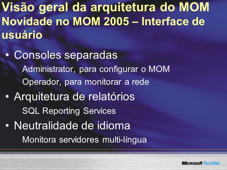 Visão geral da arquitetura do MOM Novidade no MOM 2005 – Interface de usuário