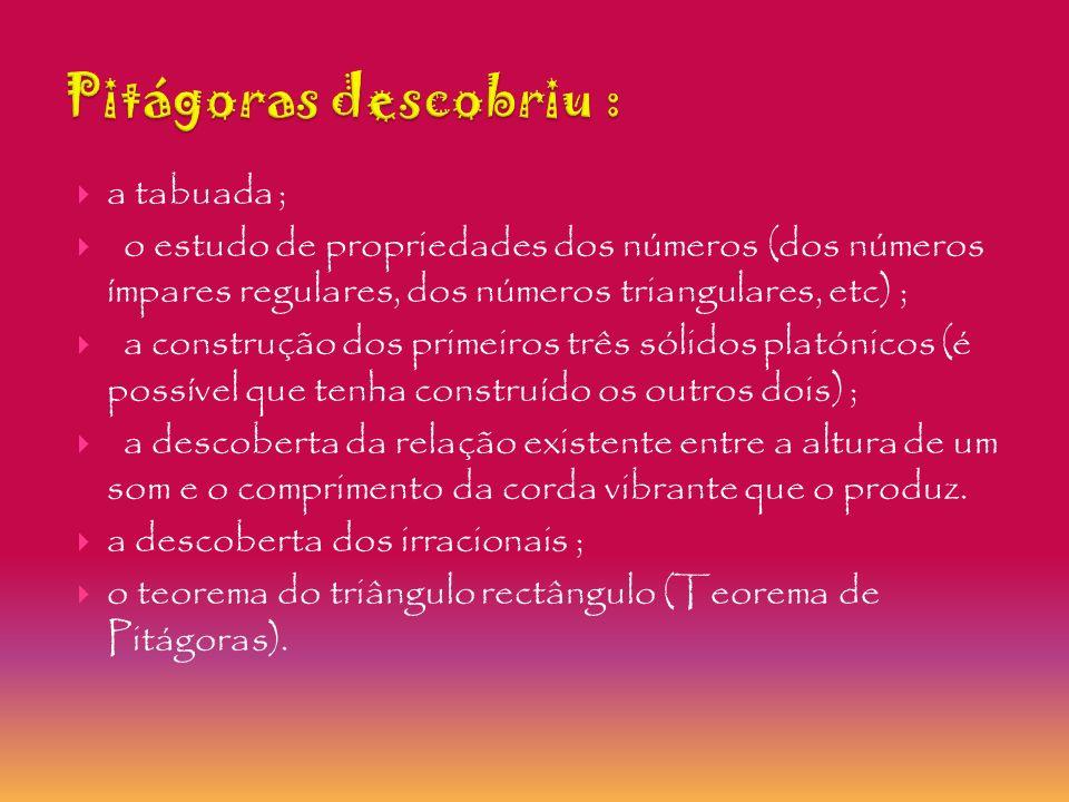 Pitágoras descobriu : a tabuada ;