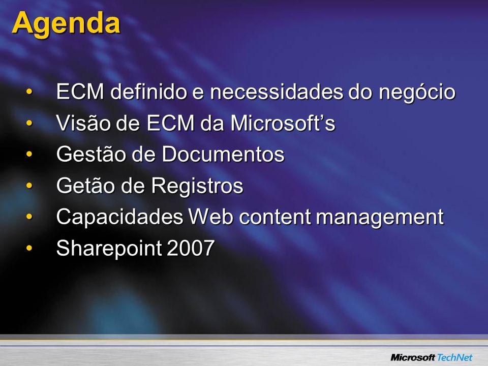 Agenda ECM definido e necessidades do negócio
