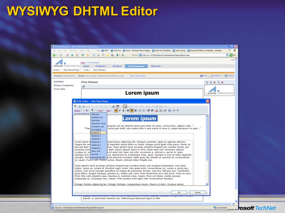 WYSIWYG DHTML Editor Screenshot showing the rich WYSIWYG DHTM editor