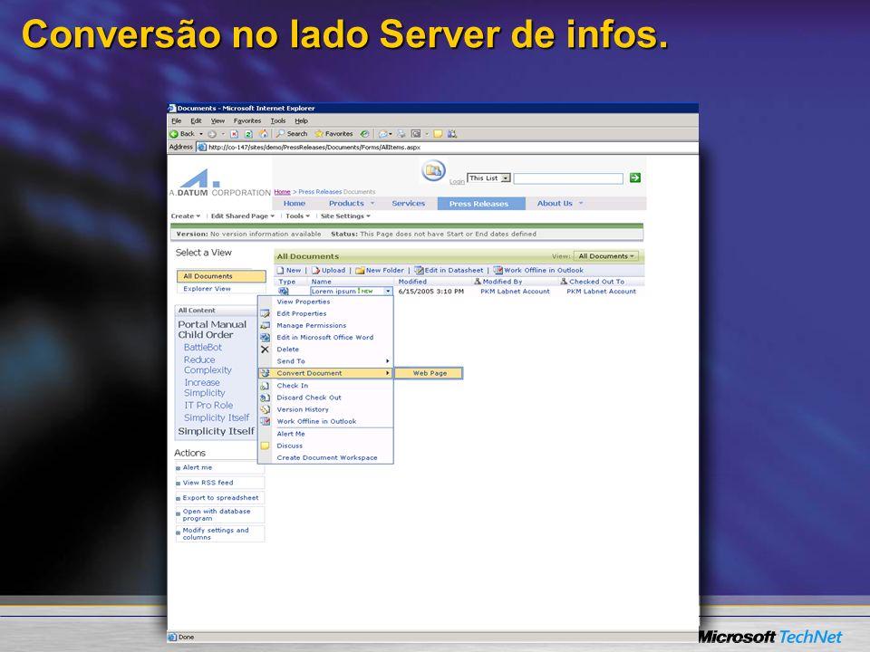 Conversão no lado Server de infos.