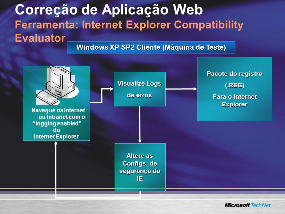Correção de Aplicação Web Ferramenta: Internet Explorer Compatibility Evaluator