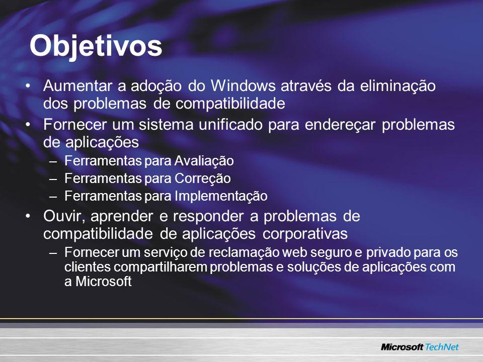 Objetivos Aumentar a adoção do Windows através da eliminação dos problemas de compatibilidade.