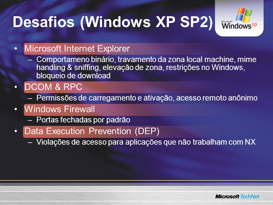 Desafios (Windows XP SP2)