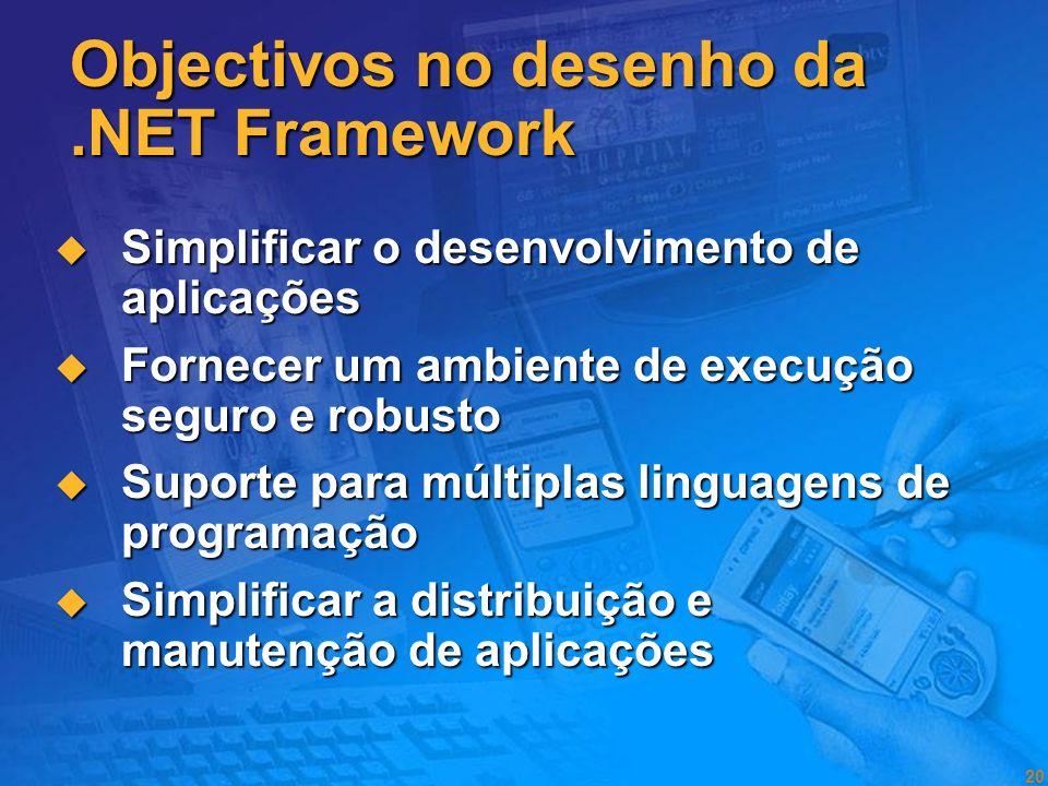 Objectivos no desenho da .NET Framework
