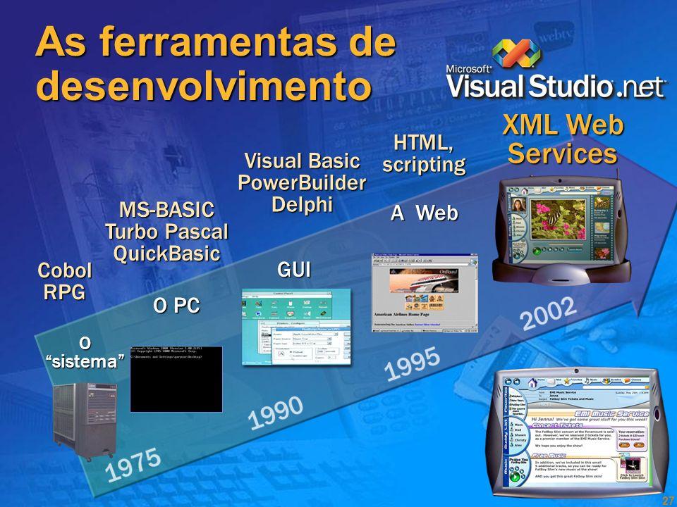 As ferramentas de desenvolvimento