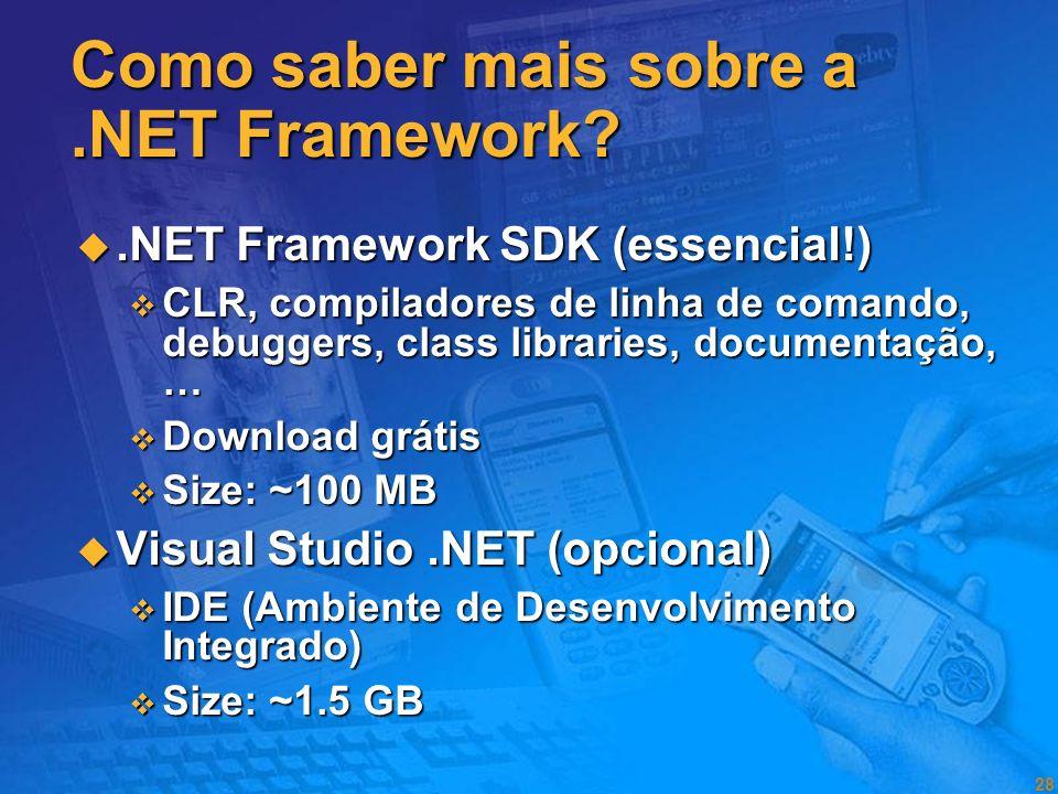Como saber mais sobre a .NET Framework