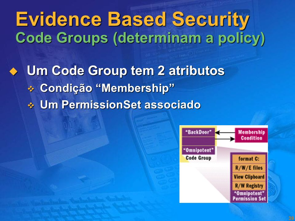 Evidence Based Security Code Groups (determinam a policy)