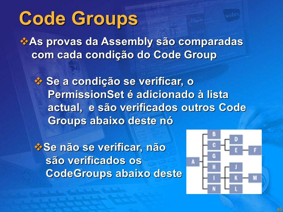 Code Groups As provas da Assembly são comparadas