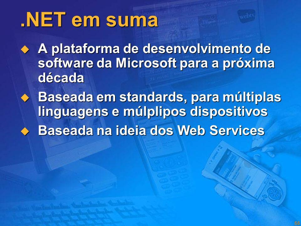 .NET em suma A plataforma de desenvolvimento de software da Microsoft para a próxima década.