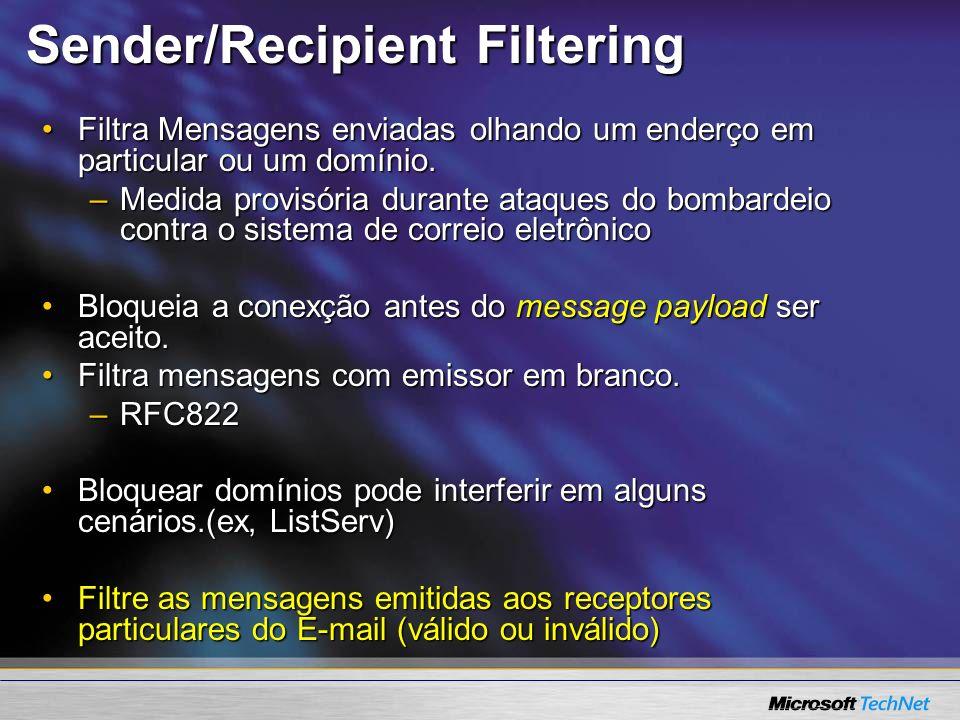 Sender/Recipient Filtering