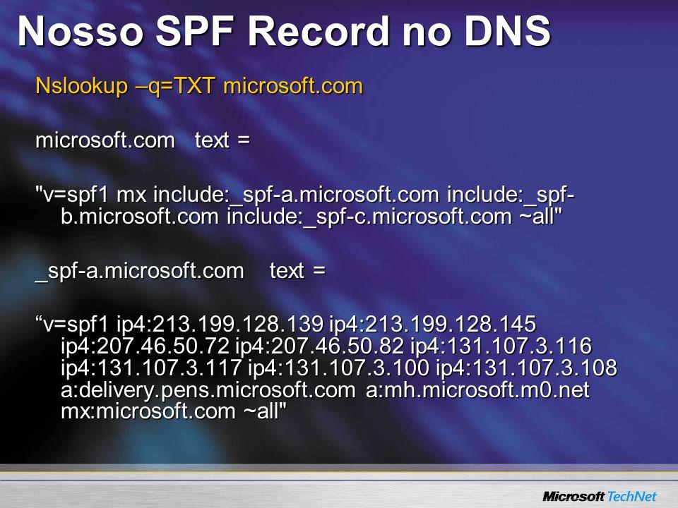 Nosso SPF Record no DNS Nslookup –q=TXT microsoft.com
