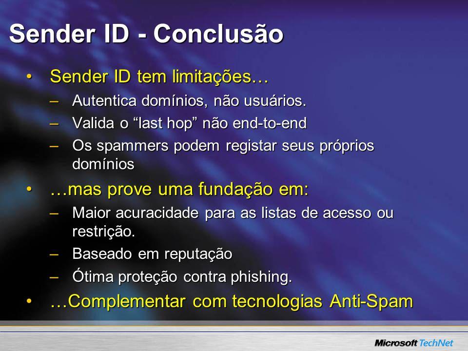 Sender ID - Conclusão Sender ID tem limitações…
