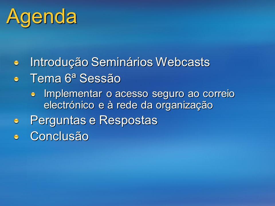 Agenda Introdução Seminários Webcasts Tema 6ª Sessão
