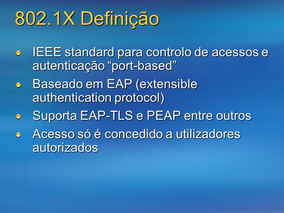 3/24/2017 802.1X Definição. IEEE standard para controlo de acessos e autenticação port-based Baseado em EAP (extensible authentication protocol)