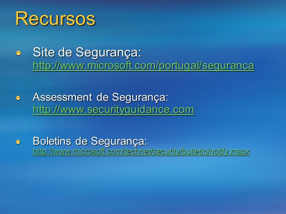 Recursos Site de Segurança: http://www.microsoft.com/portugal/seguranca. Assessment de Segurança: http://www.securityguidance.com.