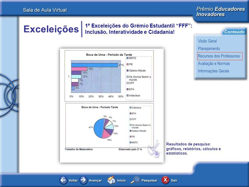 Resultados de pesquisa: gráficos, relatórios, cálculos e estatísticas.