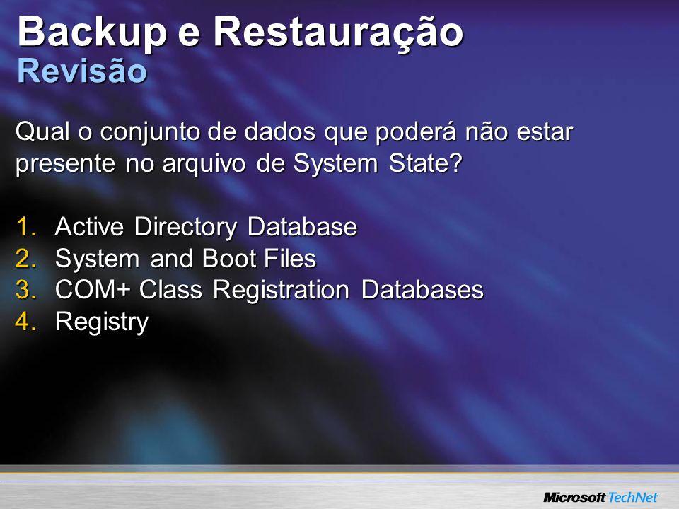 Backup e Restauração Revisão