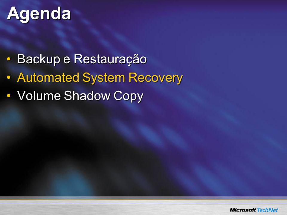 Agenda Backup e Restauração Automated System Recovery