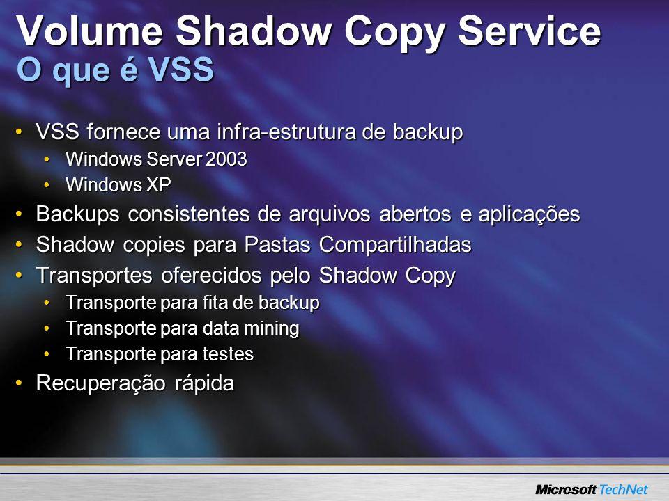 Volume Shadow Copy Service O que é VSS
