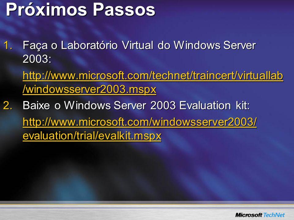 Próximos Passos Faça o Laboratório Virtual do Windows Server 2003: