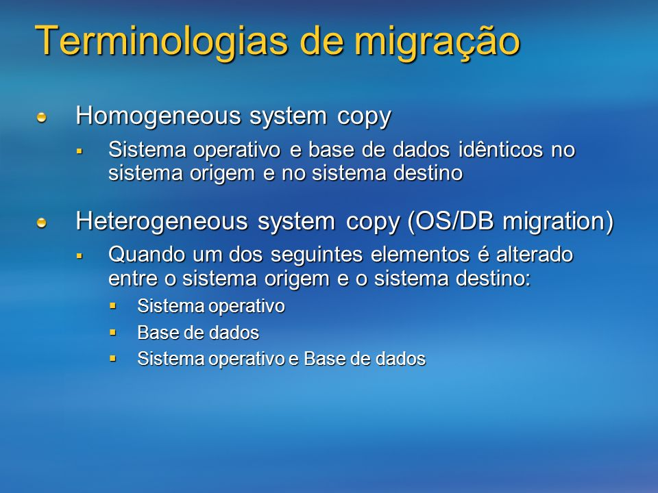 Terminologias de migração