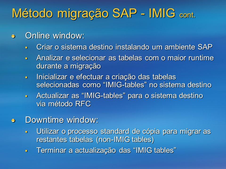 Método migração SAP - IMIG cont.