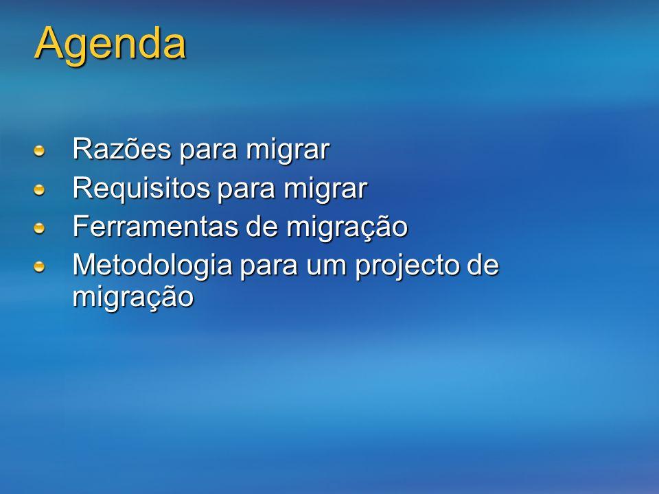Agenda Razões para migrar Requisitos para migrar