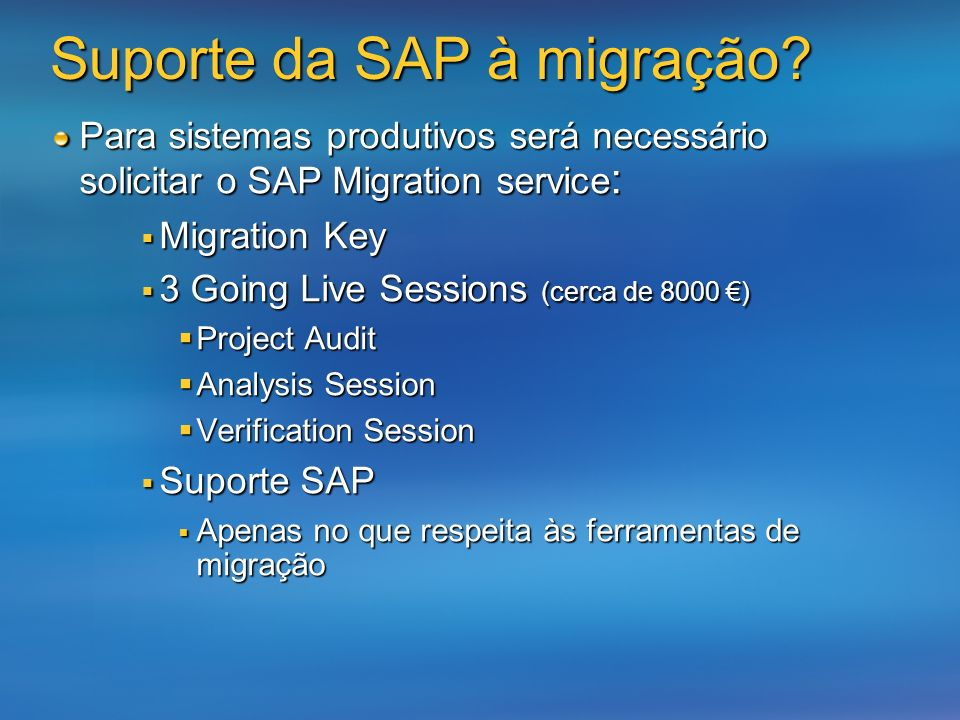 Suporte da SAP à migração
