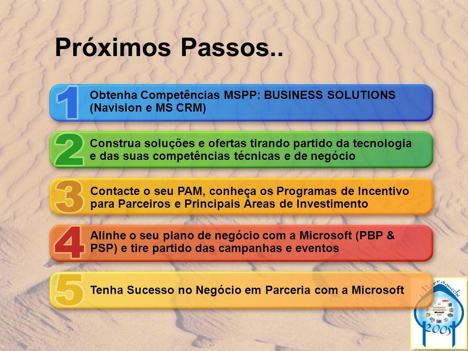 Próximos Passos.. Obtenha Competências MSPP: BUSINESS SOLUTIONS (Navision e MS CRM) Construa soluções e ofertas tirando partido da tecnologia.