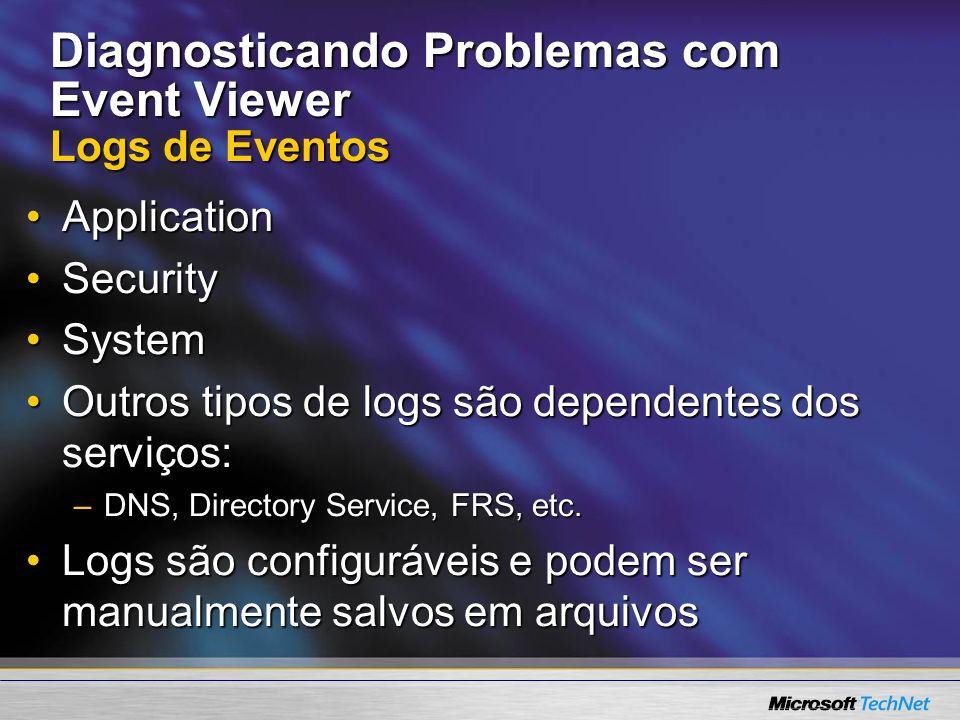 Diagnosticando Problemas com Event Viewer Logs de Eventos