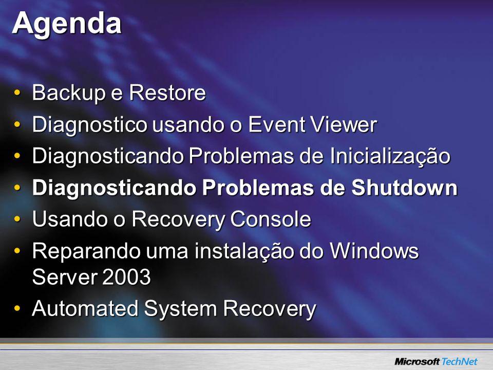 Agenda Backup e Restore Diagnostico usando o Event Viewer