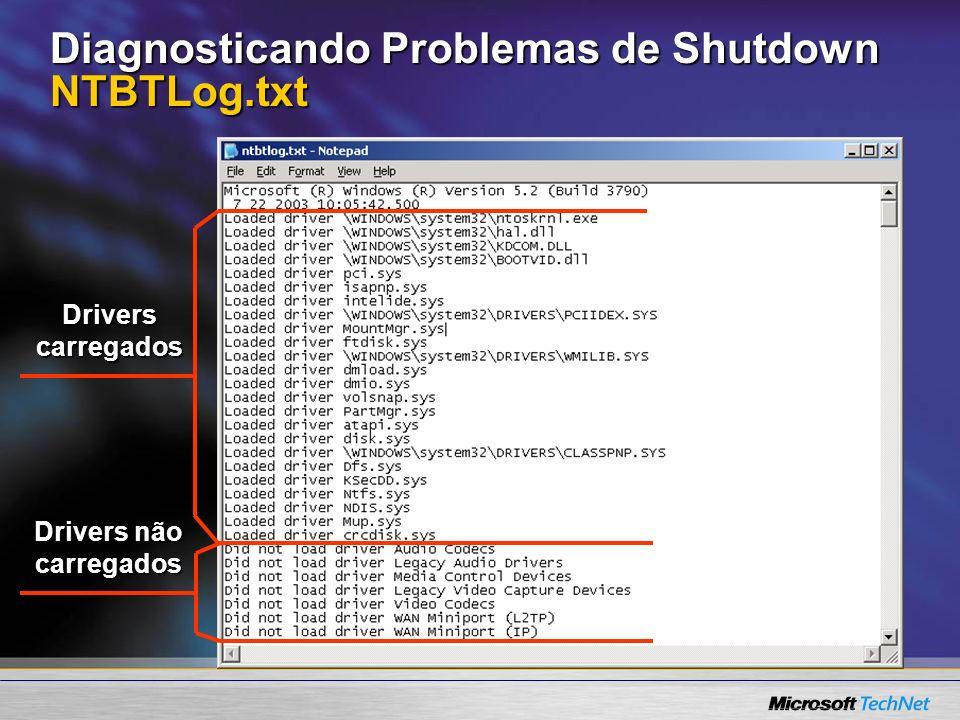 Diagnosticando Problemas de Shutdown NTBTLog.txt
