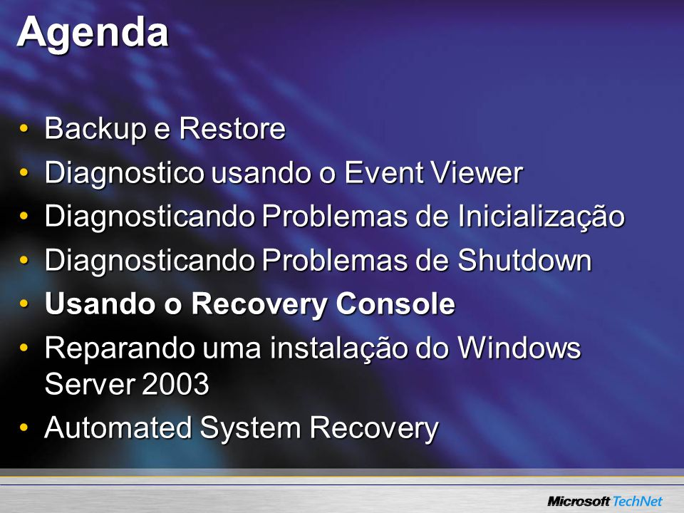 Agenda Backup e Restore Diagnostico usando o Event Viewer