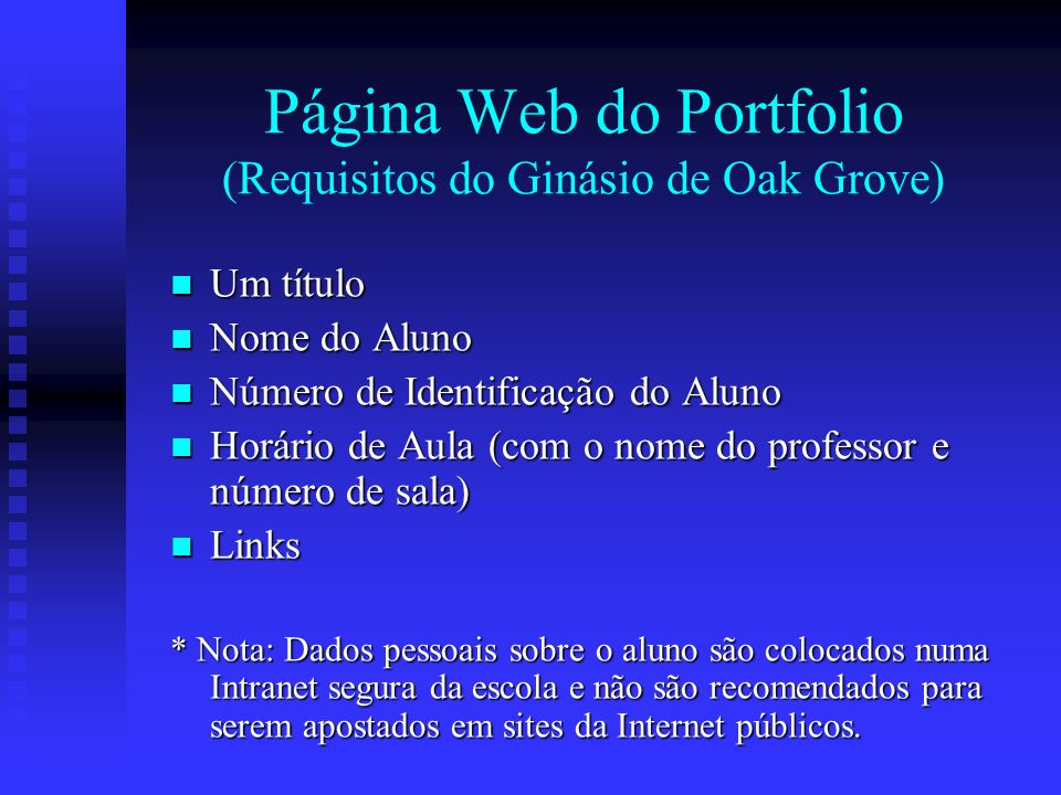 Página Web do Portfolio (Requisitos do Ginásio de Oak Grove)