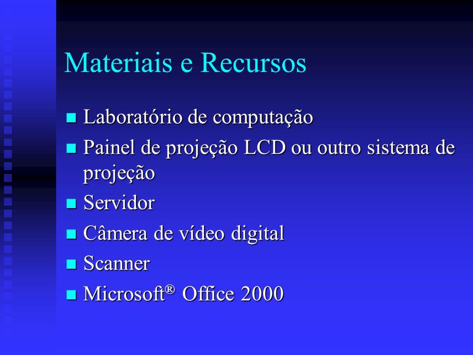 Materiais e Recursos Laboratório de computação