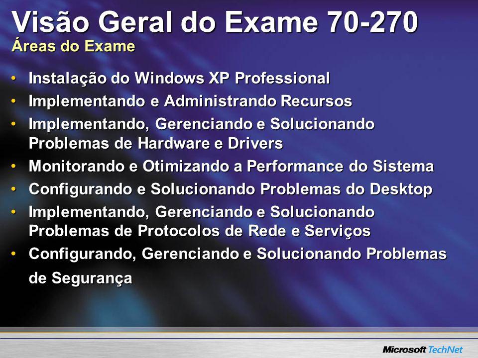 Visão Geral do Exame 70-270 Áreas do Exame