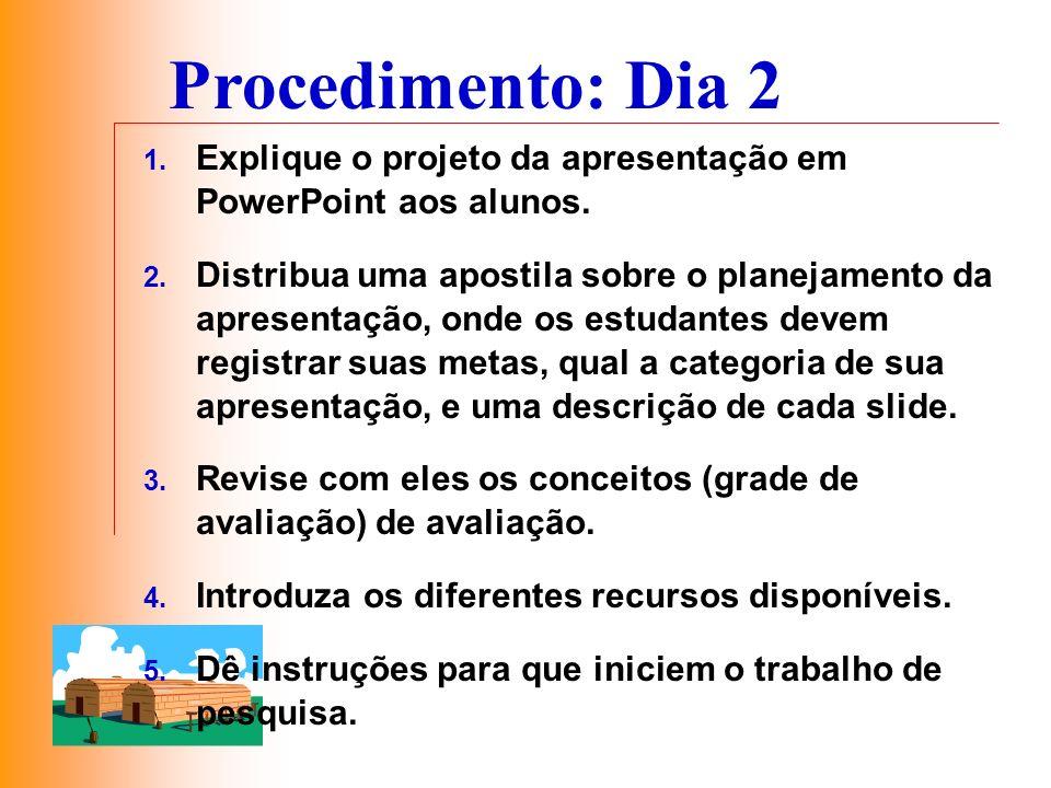 Procedimento: Dia 2 Explique o projeto da apresentação em PowerPoint aos alunos.