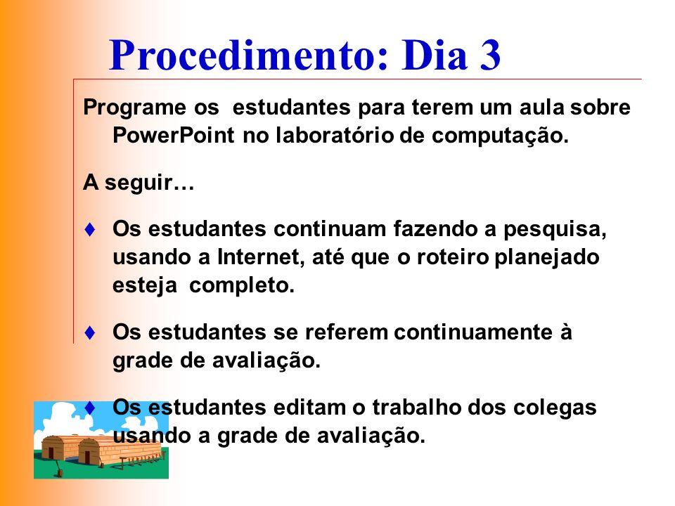 Procedimento: Dia 3 Programe os estudantes para terem um aula sobre PowerPoint no laboratório de computação.