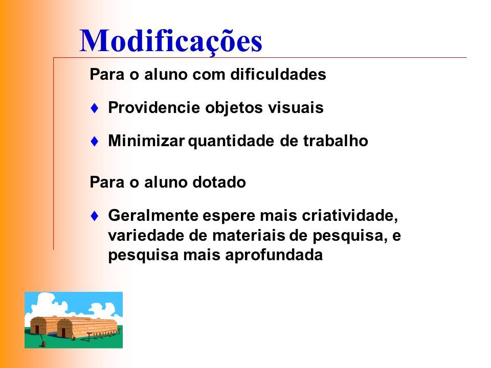 Modificações Para o aluno com dificuldades Providencie objetos visuais