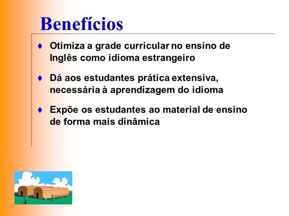 Benefícios Otimiza a grade curricular no ensino de Inglês como idioma estrangeiro.
