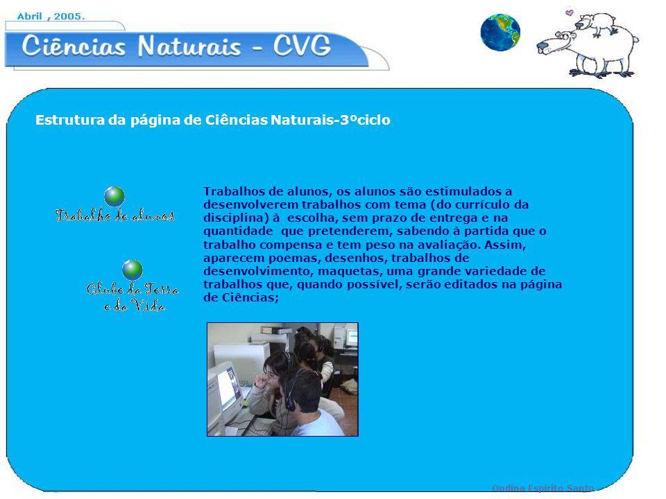 Estrutura da página de Ciências Naturais-3ºciclo